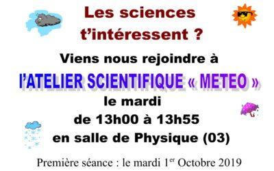 ATELIER SCIENTIFIQUE «MÉTÉO»