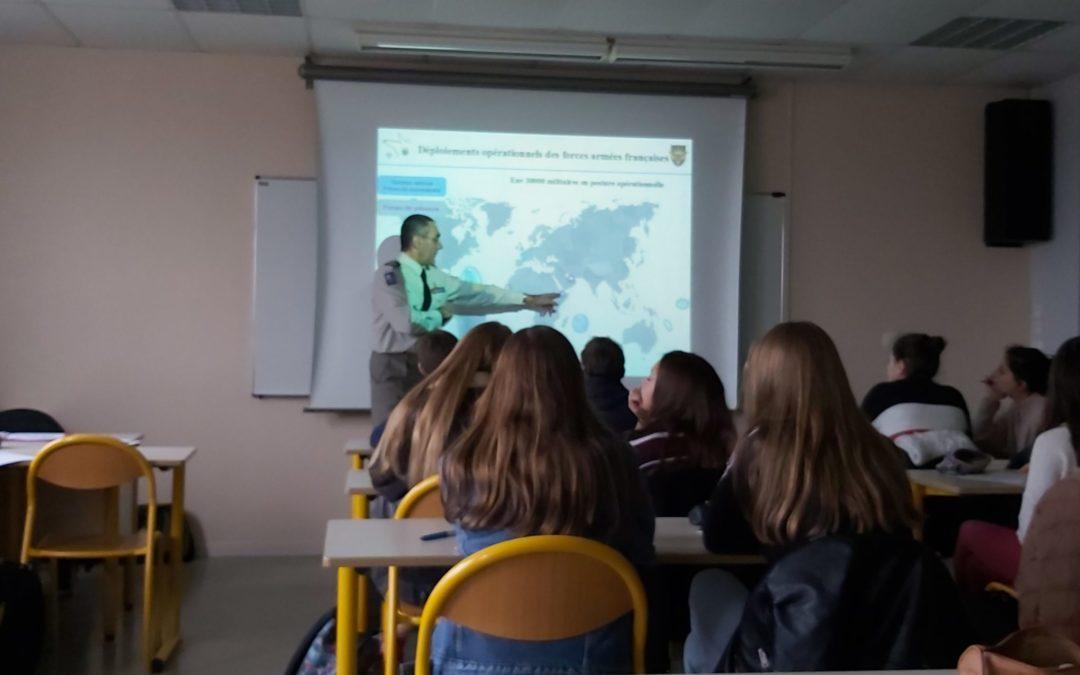 Intervention du Lieutenant-Colonel Guilleminot aux élèves de l'option Classe Défense et Sécurités Globales 19/02/19