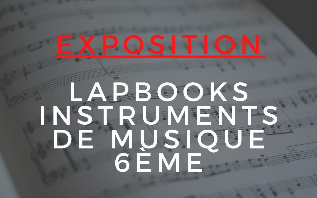 Au CDI, EXPOSITION LAPBOOKS INSTRUMENTS DE MUSIQUE 6EME